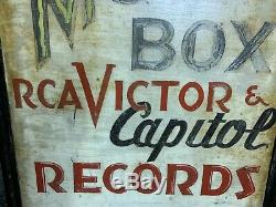 Antique Double Sided Sidewalk Advertising Sign RCA Victor Capital Records Vinyl
