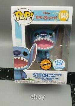 FUNKO POP SHOP EXCL DISNEY STITCH with RECORD PLAYER #1048 CHASE