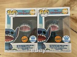 FUNKO POP SHOP EXCL DISNEY STITCH with RECORD PLAYER #1048 CHASE VERSION