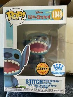 Funko POP! Disney STITCH With Record Player CHASE #1048 withPROTECTOR