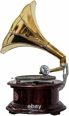 Gramophone With Brass Horn Record Player 78 rpm vinyl phonograph Round