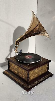 Record Working Player Gramophone Phonograph Antique Vinyl Recorder Wind up Decor