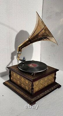 Record Working Player Gramophone Phonograph Antique Vinyl Recorder Wind up Gramo