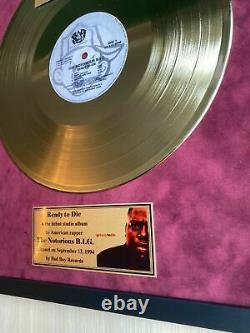 The Notorious B. I. G. Ready To Die 1994 Vinyl Gold Metallized Mounted Record